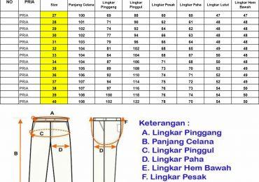 Standar Ukuran Celana Panjang